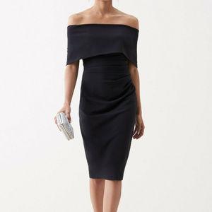 VINCE CAMUTO Black Off Shoulder Midi Dress Size 16